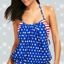 2pc Tankini Swimsuit Patriotic Theme Fits like S/M GET a FREE Stars Stripes Hat!