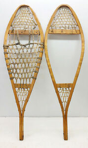 """Antique Vintage 11"""" X 36"""" Child Snowshoes For Decor / Arts & Craft FREE SHIPPING"""