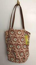 Rock Flower Paper Floral Print Bucket Bag Purse Canvas Magnet Cotton Rust Brown