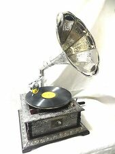 ANTIQUE GRAMOPHONE PHONOGRAPH SILVER CRAFTED MACHINE HORN SOUND BOX NEEDLE SET