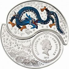 Fiji 2012 Yin & Yang Year of the Dragon 2*1/2 Oz Silver Proof coin