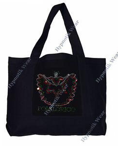 """Rhinestone Sturdy Tote Bag with """" Folklorico Dancer """" in Various Color, Bling,"""