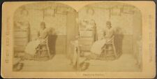 c. 1890, Black Americana, A loving mother and daughter, stereoview, indoor view