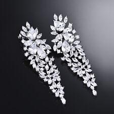 HUCHE Laurel Branch 18k White Gold Filled Lab Diamond Crystal Women Lady Earring