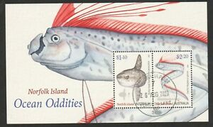 AUSTRALIA NORFOLK ISLAND 2020 DEEP SEA FISH OCEAN ODDITIES SOUVENIR SHEET STAMPS