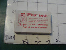 vintage trick/gag/ joke: 1950's/60's MYSTERY PADDLE in box, purchased 1955