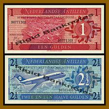 Netherlands Antilles 1 and 2 1/2 (Two & Half) Gulden 2 Pcs Set, 1970 P-21 Unc