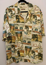 Tommy Bahama Mens L 100% Silk LA To Vegas Button Front Camp Hawaiian Shirt, MINT