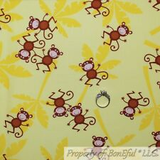BonEful FABRIC FQ Cotton Quilt Yellow Brown Silly MONKEY Baby Girl Boy Unisex US
