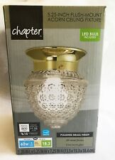 Chapter Polished Brass Acorn Ceiling Fixture 5.25 Inch Flush-Mount FREE S&H!!