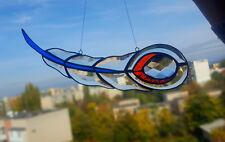 Beveled Glass with Bohemian Crystal Suncatcher Feather, Tiffany Style Handmade