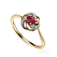 Cluster Yellow Gold Ruby Fine Rings