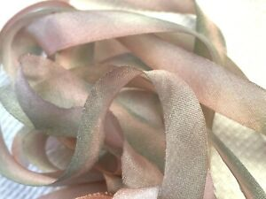 "Silk Hand Dyed 7/16"" Ribbon 1yd Made in USA Sun Mist"