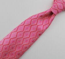 "Paul Stuart Men's Tie fine Patterned Silk Hand Sewn UK 60"" Pink"