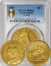 Great Britain - 1887 5 Sovereigns / 5 Pounds - PCGS MS-61. Undergraded!
