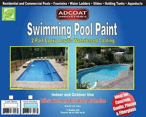 Swimming Pool Paint, 2-Part Epoxy Acrylic Coating - 1 gallon kit