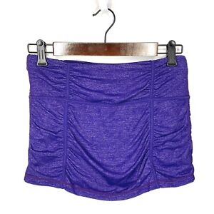 Athleta Hatha Purple Spacedye Heathered Ruched Yoga Skort Skirt Size S