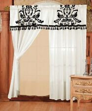 2-Panel Black and White Floral Window Curtain/ Drape Set with Valance and Sheer