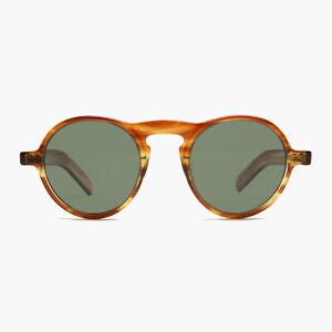 Round Retro Sunglass with Green Polarized Lens Honey Tortoise - Miami