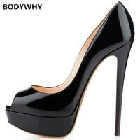 14CM Heels Shoes Women Platform High Heels Pumps Peep Toe Leather Red Shoes