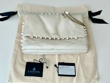 LANVIN Medium Quilted Lambskin Sugar Pearl Bag White / Ivory RTL $2490