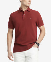 Tommy Hilfiger Men Classic Fit Dark Red Short Sleeve Polo Button Shirt Size L