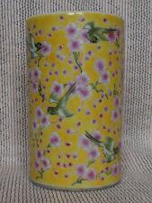 Yellow ground Chinese enamel porcelain brushpot Bitong Daoguang seal mark