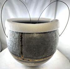 "Creative Co-op Galvanized Metal Hanging Planter Da7380, 9"" round, missing wire"