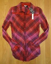 NWT BUFFALO DAVID BITTON SURIYA PLAID LONG SLEEVE SHIRT RASPBERRY WOMENS MEDIUM