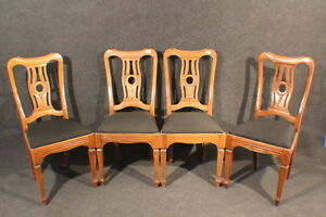 4 Stühle Klassizismus Biedermeier Louis XVI Eiche Polsterstuhl #2447