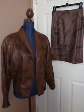 Made in Italy Embossed Brown Leather Jacket & Pencil Skirt SZ IT 38/40 (US 4/6)