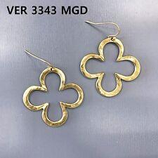 Design Shape Drop Dangle Hook Earrings Simple Matte Gold Finish Hammered Clover