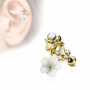 Piercing Cartilage Helix Flower White Gold Plated