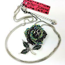 Betsey Johnson Rose Necklace and Brooch Dark Iridescent Rhinestones Silver Chain