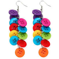 MULTI COLOURED BUTTONS CLUSTER DROP FASHION EARRINGS - Funky Kitsch Jewellery