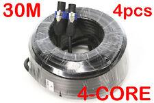 4x 30 Metre Pro 4 Core Male Speakon OFC Speaker Link Lead Cable Cord 30M MaxAV