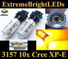 TWO Orange AMBER 50W 3156 3157 10x Cree XP-E Turn Signal Lights + Load Resistors