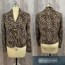 1980s Vintage Dana Buchman Animal Print Leopard Print Career Jacket/Coat Large