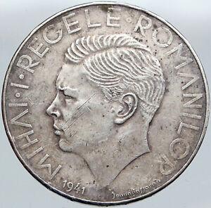 1941 ROMANIA Michael I Antique Genuine OLD Silver 500 LEI Romanian Coin i87691