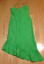 NWOT Banana Republic Dress - Asymetrical Hem - Linen - Green - Size 10 Flamenco