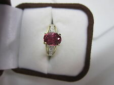 STUNNING ESTATE 14 KT GOLD 1.94 CTW VIVID RUBELLITE AND DIAMOND RING !!!!!!!