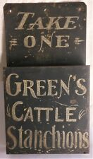 """Super Antique Trade Sign Tin Painted Tole Farm """"Green's Cattle Stanchions"""""""