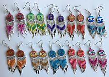 10 pairs colorful round ceramic long earrings handmade Peruvian alpaca silver