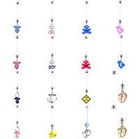BodyJ4You Pregnancy Belly Button Ring 14G Long Dangle Flexible Bar Body Jewelry