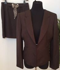NWT Tahari Women's Career Dark Brown 100% Polyester 2 Piece Skirt Suit Size 12P.