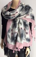 Tasselled Pink Grey Floral Scarf Softest Feel Oversized Long Glamorous NEW