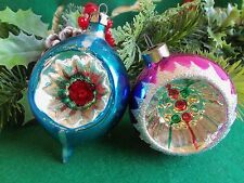 VINTAGE  2 INDENTS&GLITTER DESIGNS ROUND&TEARDROP HAND BLOWN CHRISTMAS ORNAMENTS