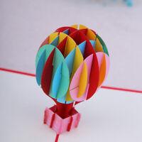 3D Birthday Card Hot Air Balloon Anniversary Handmade Art Blank Greeting Jian
