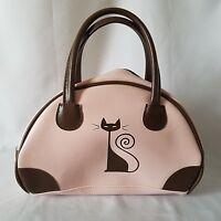 Redtango Pink Kitty Cat Purse Handbag Brown Small Tote