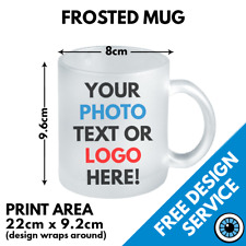Custom Printed Frosted Glass Mug • Personalised Print Gift Image Logo Text Mugs